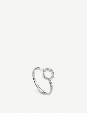 MONICA VINADER Riva Mini Circle sterling silver and diamond stacking ring