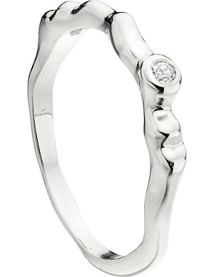 MONICA VINADER Siren waved sterling silver and white topaz ring