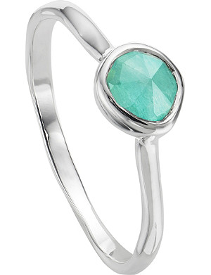 MONICA VINADER Siren sterling silver and amazonite small stacking ring