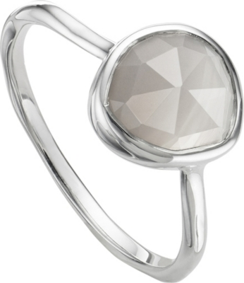 MONICA VINADER Siren sterling silver and grey agate stacking ring