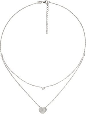 FOLLI FOLLIE Fashionably love hearts sterling silver necklace