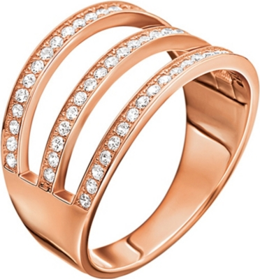 FOLLI FOLLIE Fashionably sterling-silver rose gold-plated 3 row ring