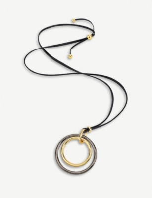 FOLLI FOLLIE Metal Chic yellow-gold and gunmetal plated metal long neckalce