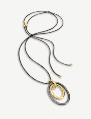 FOLLI FOLLIE Metal Chic gunmetal and yellow-gold plated metal neckalce
