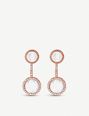 FOLLI FOLLIE Heart4Heart Mirrors rose gold-plated and mother-of-pearl stud earrings