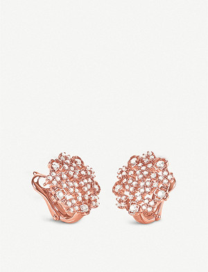 FOLLI FOLLIE Bouquet rose-gold plated and cubic zirconia clip-on earrings