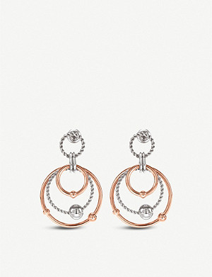 FOLLI FOLLIE Style Bonding silver and rose gold-plated layered circle earrings