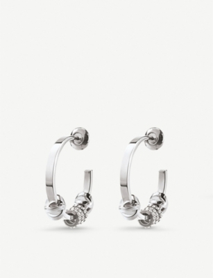 FOLLI FOLLIE Love Memo silver plated small hoop earrings