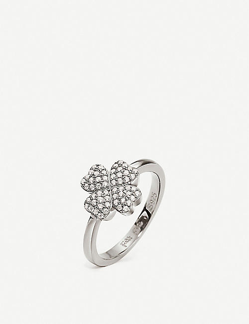 FOLLI FOLLIE Heart4Heart 925 rhodium-plated clover ring