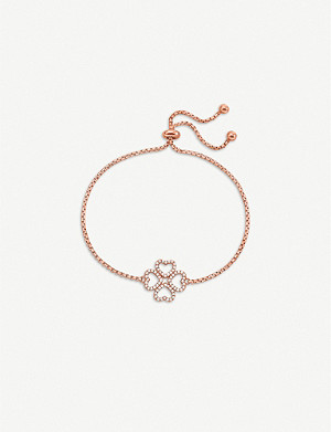 FOLLI FOLLIE Miss Heart4Heart four-leaf clover rose gold-plated and cubic zirconia bracelet