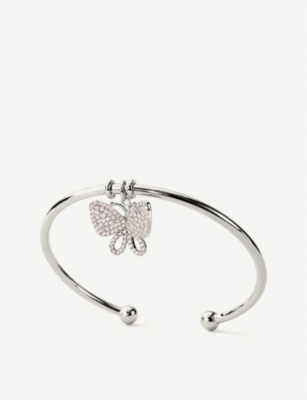 FOLLI FOLLIE Wonderfly silver and diamante-embellished butterfly bangle