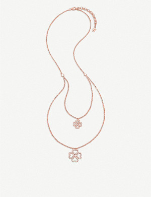 FOLLI FOLLIE Miss Heart4Heart double-layered rose gold-plated and zirconia necklace