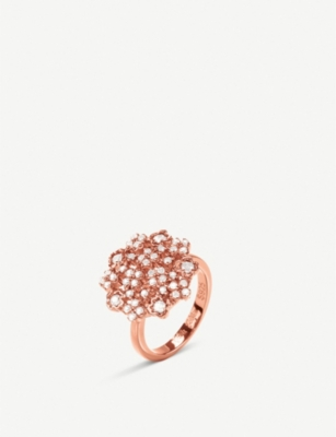 FOLLI FOLLIE Bouquet rose-gold plated and cubic zirconia ring