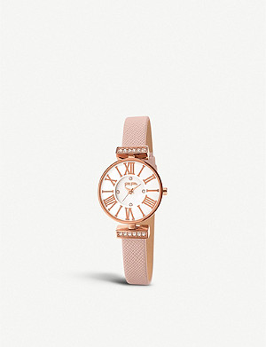 FOLLI FOLLIE Dynasty rose gold-plated stainless steel and leather watch