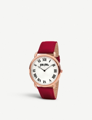 FOLLI FOLLIE Perfect Match rose gold-plated and leather watch