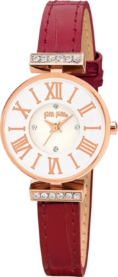 FOLLI FOLLIE WF13B014SSW_RE Dynasty rose gold-plated stainless steel and leather watch
