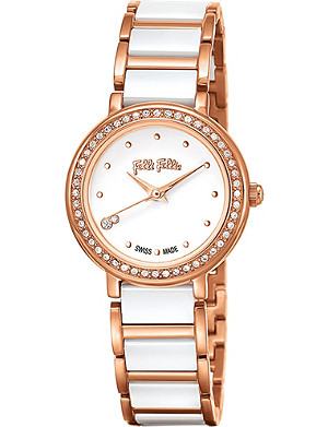 FOLLI FOLLIE Checkmate Mini ceramic and rose-gold plated stainless steel watch