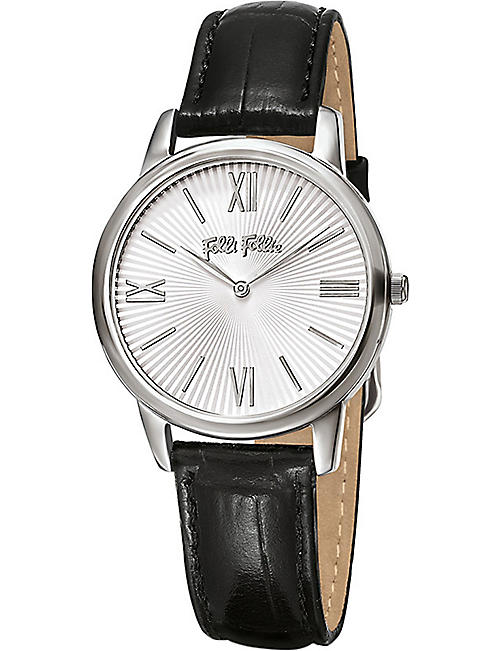 FOLLI FOLLIE Match Point Small stainless steel and leather watch