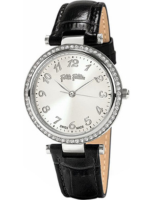 FOLLI FOLLIE Classy Reflections stainless steel and leather watch