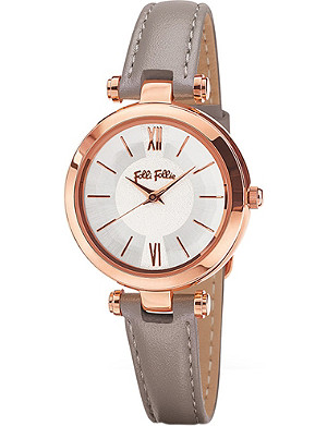 FOLLI FOLLIE Lady Bubble Mini rose gold-plated stainless steel leather mini watch
