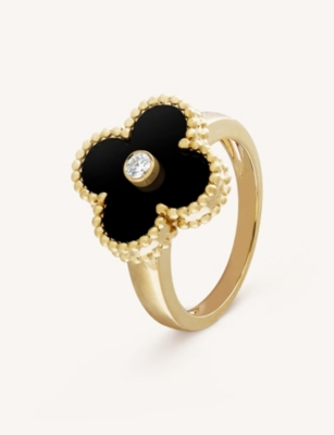 VAN CLEEF & ARPELS Vintage Alhambra yellow-gold, diamond and onyx ring