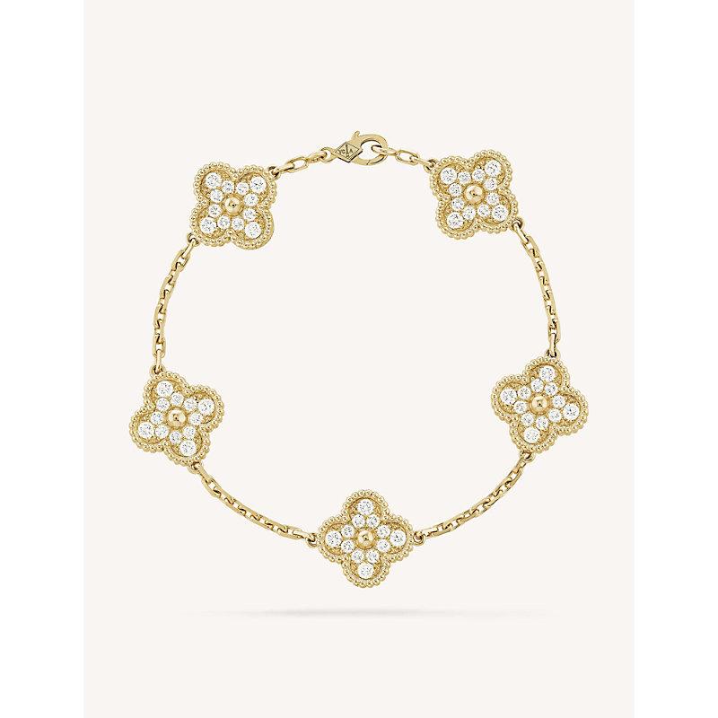 VAN CLEEF & ARPELS | VAN CLEEF & ARPELS Vintage Alhambra Gold And Diamond Bracelet, Yellow Gold | Goxip