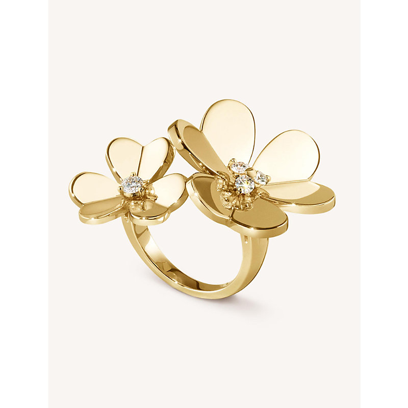 VAN CLEEF & ARPELS | VAN CLEEF & ARPELS Frivole Yellow-Gold And Diamond Between The Finger Ring, Size: 51mm, Yellow Gold | Goxip