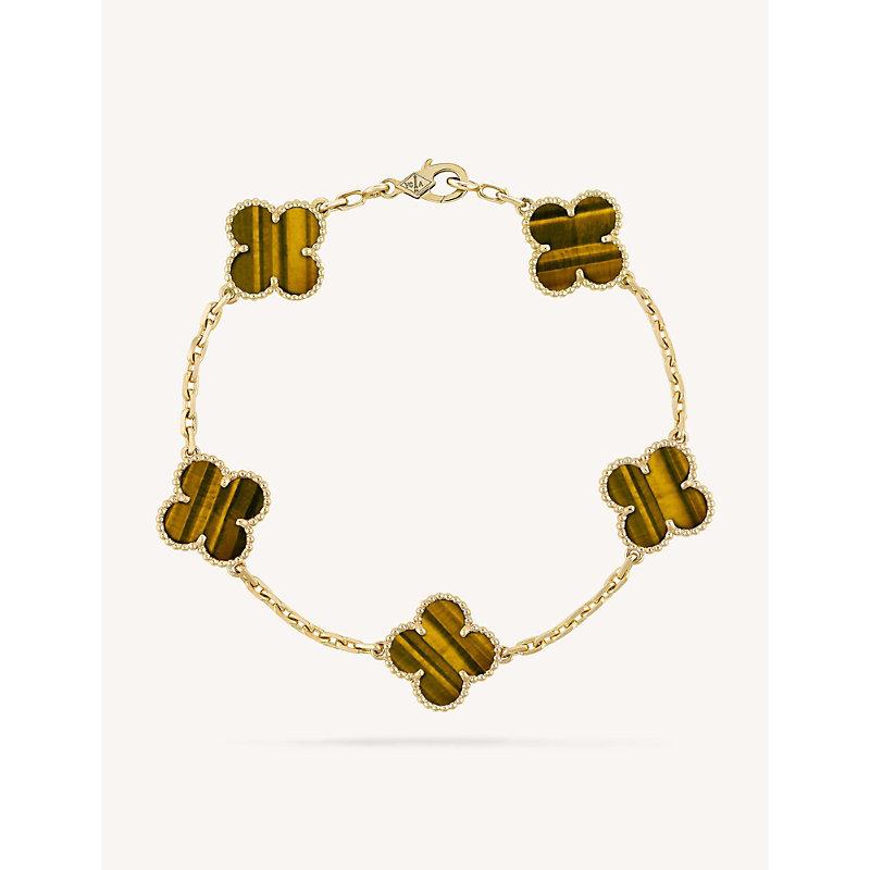 VAN CLEEF & ARPELS | VAN CLEEF & ARPELS Vintage Alhambra Gold And Tiger'S Eye Bracelet, Yellow Gold | Goxip