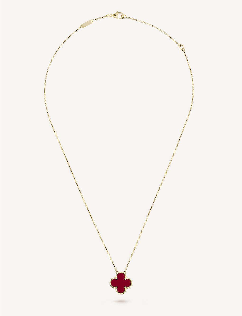 ac660b65f9 VAN CLEEF   ARPELS - Vintage Alhambra gold and carnelian pendant ...