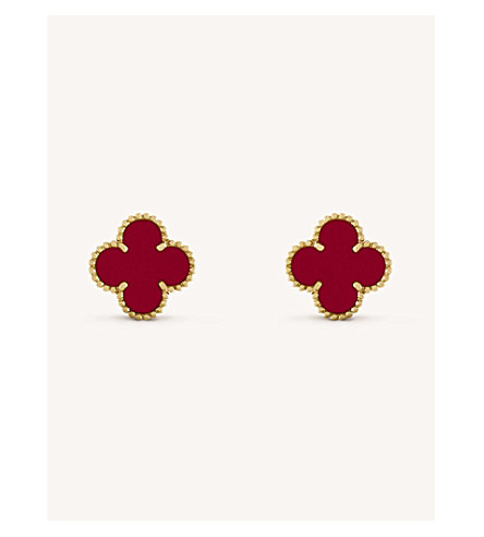 0cfa0761122ca VAN CLEEF   ARPELS Vintage Alhambra gold and carnelian earrings (Yellow+gold