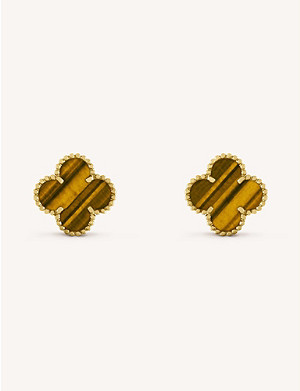 VAN CLEEF & ARPELS Vintage Alhambra gold and tiger's eye earrings