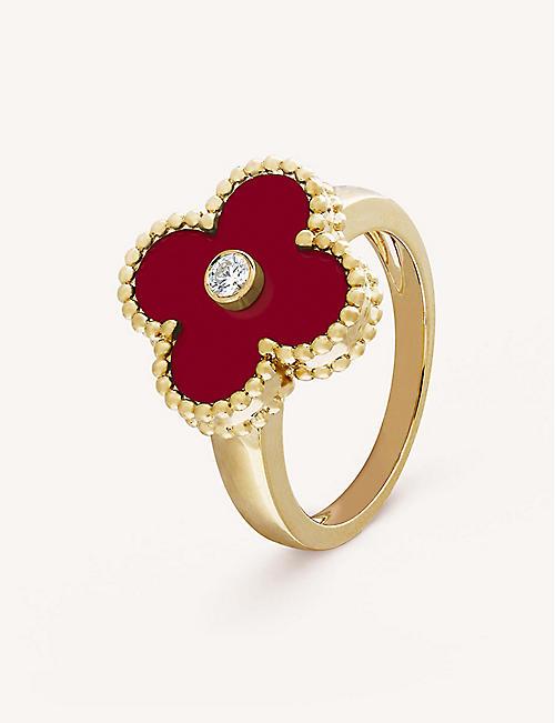 82b39b27b VAN CLEEF & ARPELS Vintage Alhambra yellow-gold, diamond and cornelian ring