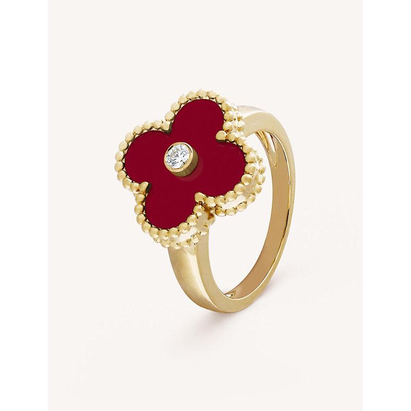 VAN CLEEF & ARPELS | VAN CLEEF & ARPELS Vintage Alhambra Yellow-Gold, Diamond And Cornelian Ring, Size: 48mm, Yellow Gold | Goxip