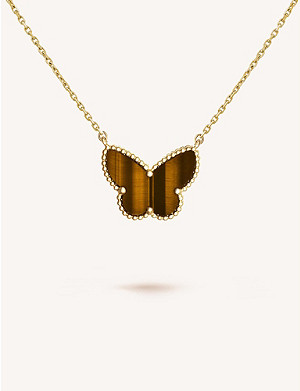 VAN CLEEF & ARPELS Lucky Alhambra gold and tiger's eye pendant