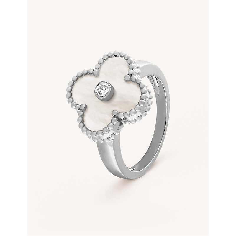 VAN CLEEF & ARPELS | VAN CLEEF & ARPELS Vintage Alhambra White-Gold, Diamond And Mother-Of-Pearl Ring, Size: 52mm, White Gold | Goxip