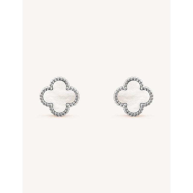 VAN CLEEF & ARPELS | VAN CLEEF & ARPELS Sweet Alhambra Gold And Mother-Of-Pearl Earrings, White Gold | Goxip