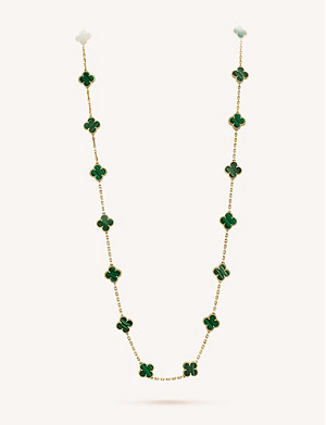 VAN CLEEF & ARPELS Vintage Alhambra gold and malachite necklace
