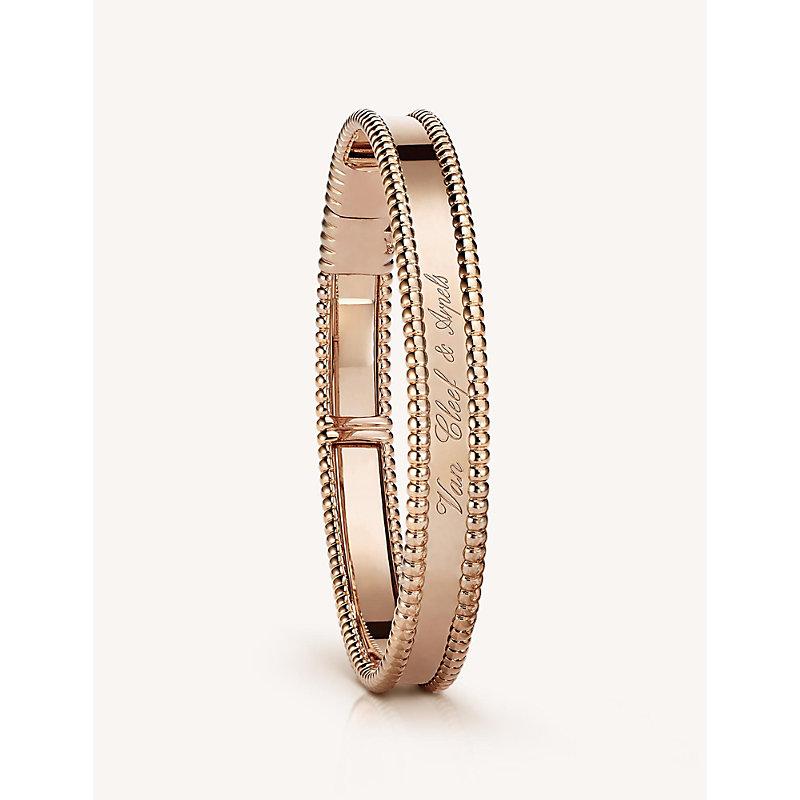 VAN CLEEF & ARPELS | VAN CLEEF & ARPELS Perlée Signature Gold Medium Bracelet, Pink Gold | Goxip