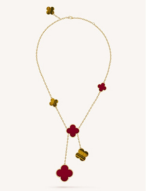 VAN CLEEF & ARPELS Magic Alhambra gold, carnelian and tiger's eye necklace