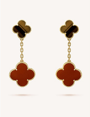 VAN CLEEF & ARPELS Magic Alhambra gold, carnelian and tiger's eye earrings