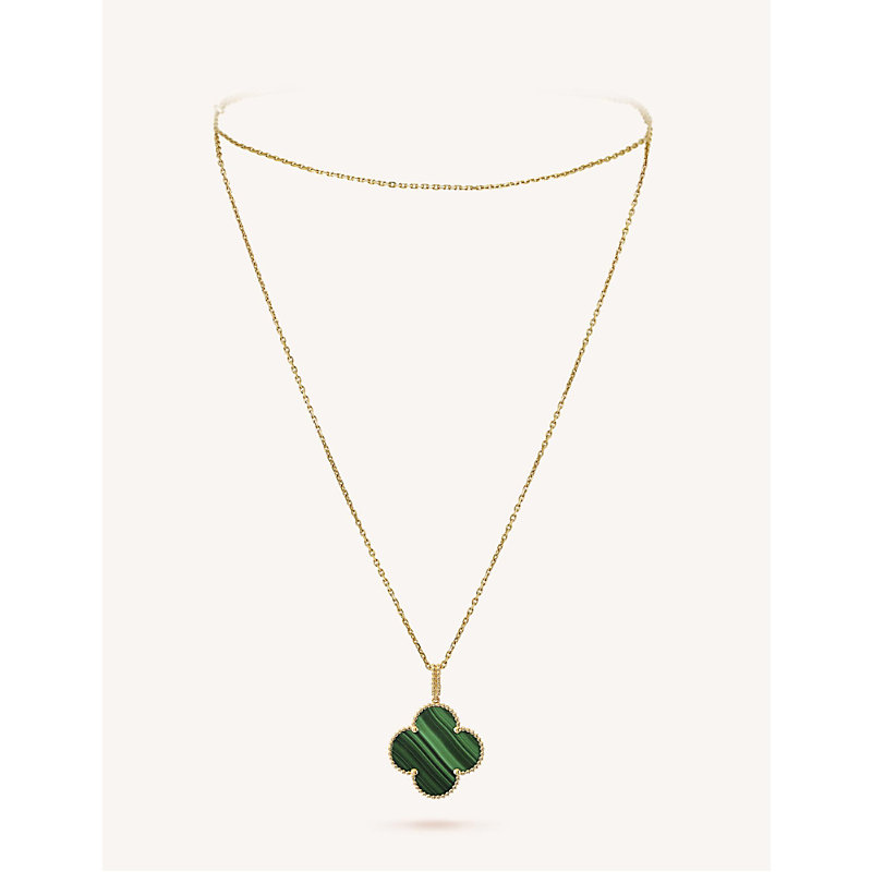 VAN CLEEF & ARPELS | VAN CLEEF & ARPELS Magic Alhambra Gold And Malachite Necklace, Yellow Gold | Goxip