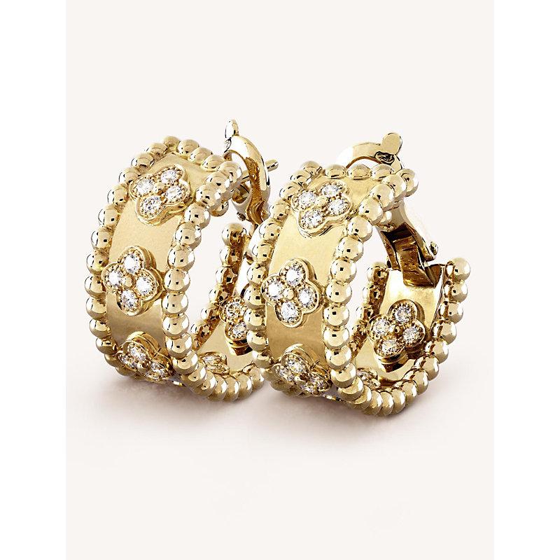 VAN CLEEF & ARPELS | VAN CLEEF & ARPELS Perlée Clover Gold And Diamond Hoop Earrings, Yellow Gold | Goxip