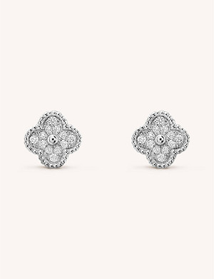 VAN CLEEF & ARPELS Sweet Alhambra gold and diamond stud earrings