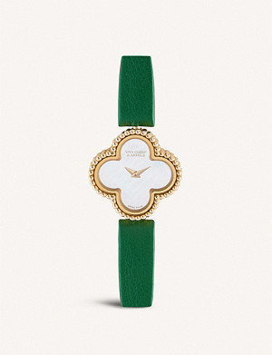 VAN CLEEF & ARPELS Sweet Alhambra rose-gold, mother-of-pearl and leather quartz watch