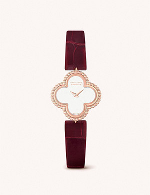 VAN CLEEF & ARPELS Sweet Alhambra gold and mother-of-pearl and leather watch