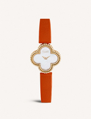 VAN CLEEF & ARPELS Sweet Alhambra pink-gold, diamond and leather watch