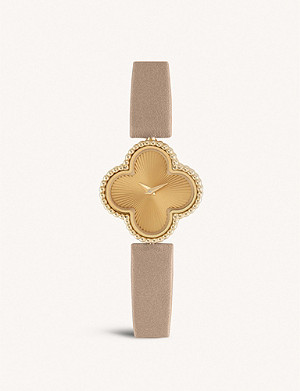 VAN CLEEF & ARPELS Sweet Alhambra yellow-gold and leather watch