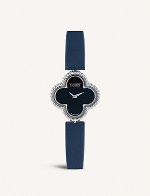 VAN CLEEF & ARPELS Sweet Alhambra white-gold, diamond and leather watch