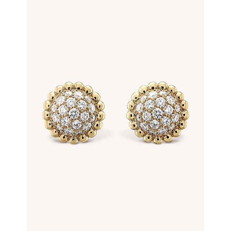 VAN CLEEF & ARPELS | VAN CLEEF & ARPELS Perlée Diamants Gold And Diamond Earrings, Yellow Gold | Goxip