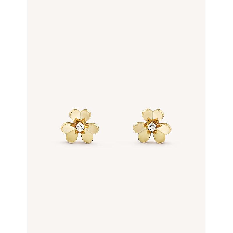 VAN CLEEF & ARPELS | VAN CLEEF & ARPELS Frivole Yellow-Gold And Diamond Earrings, Yellow Gold | Goxip